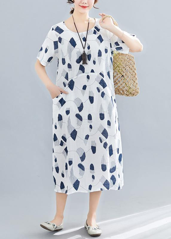 Handmade o neck pockets linen dresses Sewing navy print Dress summer