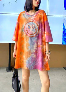 Handmade orange Tie Dye Dresses Oversize o neck half sleeve baggy Dresses