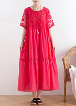 Load image into Gallery viewer, Handmade organza patchwork cotton o neck summer Catwalk red Kaftan Dress
