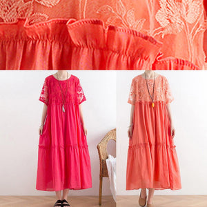 Handmade organza patchwork cotton o neck summer Catwalk red Kaftan Dress