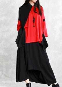 Handmade patchwork cotton spring shirts black red top