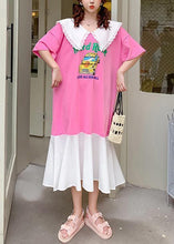 Load image into Gallery viewer, Handmade pink Cartoon print tunics for women Ruffled patchwork Dress