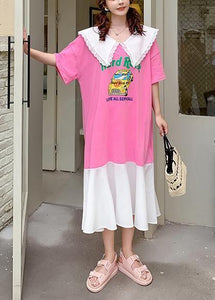 Handmade pink Cartoon print tunics for women Ruffled patchwork Dress
