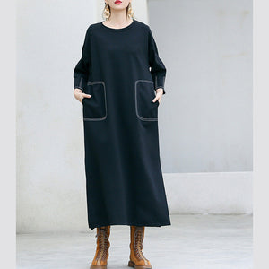Handmade pockets cotton outfit Vintage Wardrobes black Plus Size Dresses