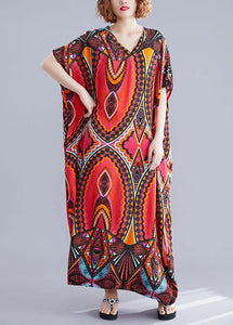 Handmade prints cotton Wardrobes Runway red v neck A Line Dresses summer