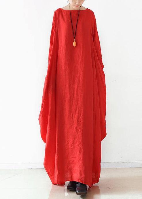 Handmade red  dress o neck long sleeve Robe Dresses