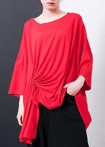 Handmade red cotton blouses for women Boho Irregular Design Pleated Solid Color T-Shirt