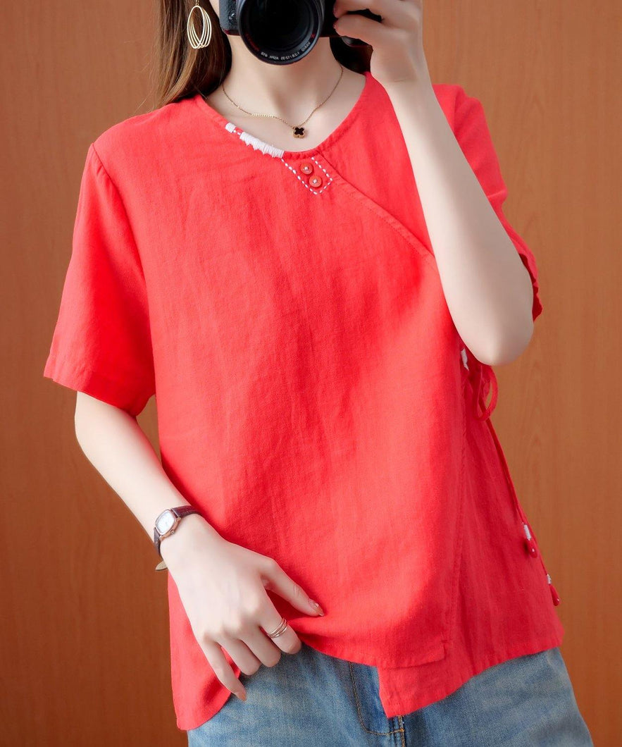 Handmade red embroidery shirts women v neck tie waist cotton top