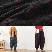 Load image into Gallery viewer, Handmade red harem pantspants slim spring Jacquard design wild trousers