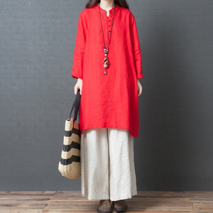 Handmade red linen clothes Metropolitan Museum Work long sleeve shift side open Dress