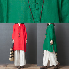 Load image into Gallery viewer, Handmade red linen clothes Metropolitan Museum Work long sleeve shift side open Dress