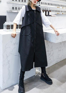 Handmade sleeveless asymmetric cotton Tunics Shape black lapel cotton Dress