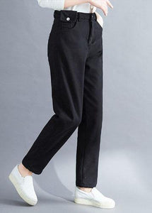 Handmade spring wild trousers oversize black Gifts pockets pants