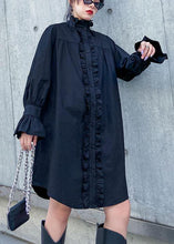 Load image into Gallery viewer, Handmade stand collar Ruffles Cotton dresses Sewing black Dress