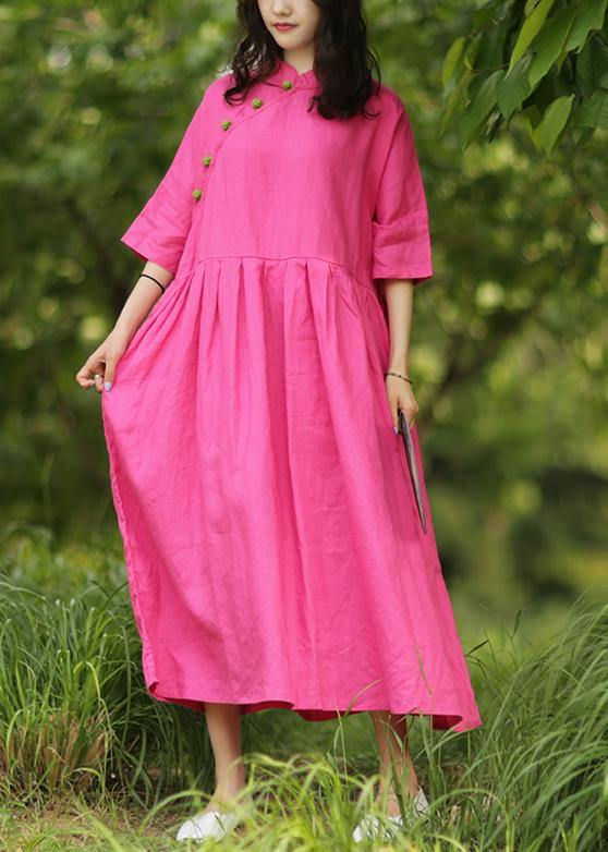 Handmade stand collar Cinched cotton dresses Tutorials rose cotton Dresses