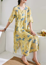 Load image into Gallery viewer, Handmade v neck half sleeve linen summer dresses Shirts yellow print Dress