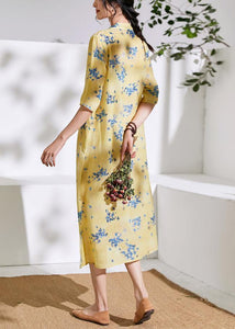 Handmade v neck half sleeve linen summer dresses Shirts yellow print Dress