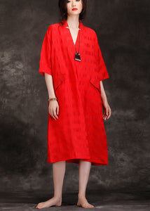 Handmade v neck patchwork linen blended Tunics top quality Shape red Art Dresses Summer