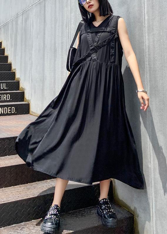 Handmade v neck sleeveless summer clothes For Women Sewing black Dress