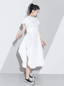 Handmade white Cotton o neck asymmetric A Line summer Dresses