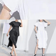 Load image into Gallery viewer, Handmade white Cotton o neck asymmetric A Line summer Dresses