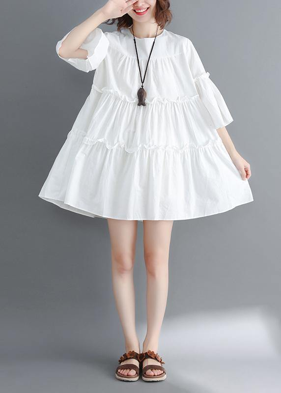 Handmade white Cotton quilting dresses o neck flare sleeve wrinkled short summer Dresses