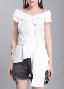Handmade white cotton crane tops sleeveless box summer shirts