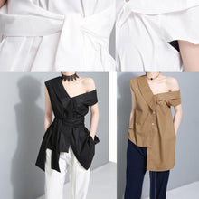Load image into Gallery viewer, Handmade white cotton crane tops sleeveless box summer shirts