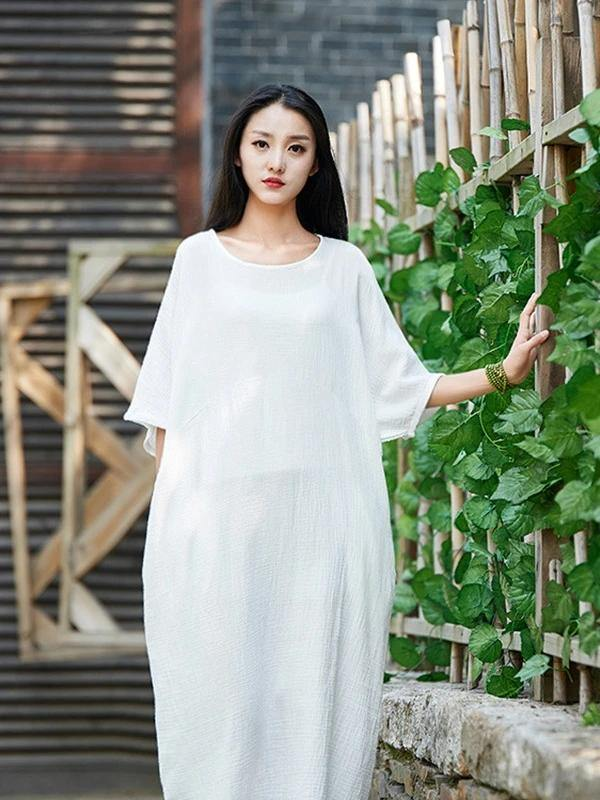 Handmade white cotton linen clothes For Women o neck half sleeve Maxi Dress
