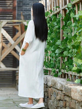 Load image into Gallery viewer, Handmade white cotton linen clothes For Women o neck half sleeve Maxi Dress