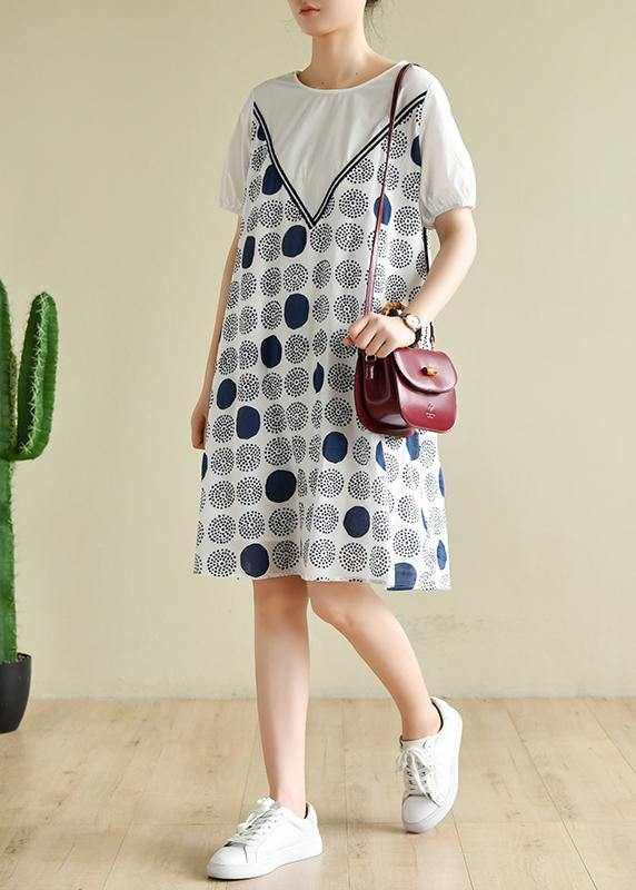 Handmade white dotted outfit o neck A Line summer Dress