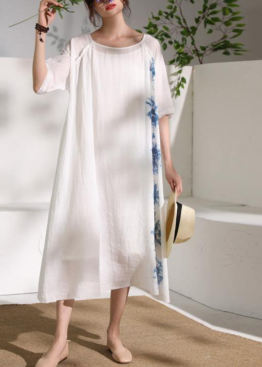 Handmade white print linen clothes For Women o neck half sleeve A Line summer Dresses