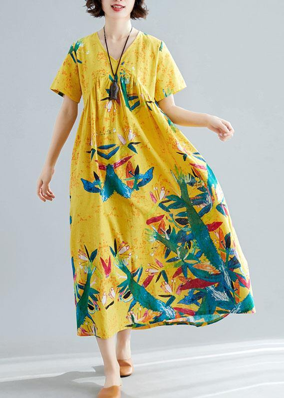 Handmade yellow prints cotton clothes For Women v neck Maxi summer big hem Dresses