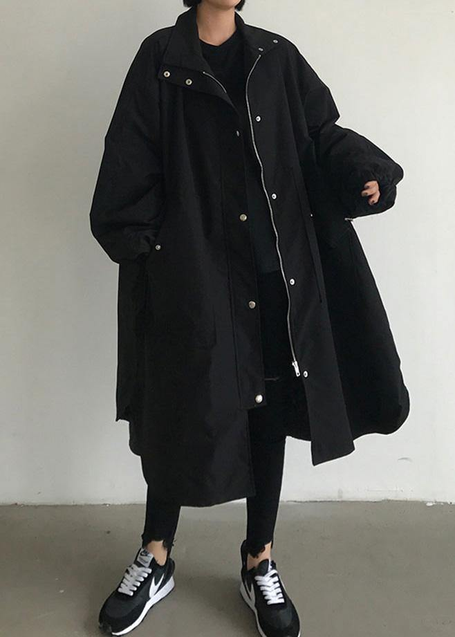 Handmade zippered Fashion lapel collar crane coats black baggy women coats