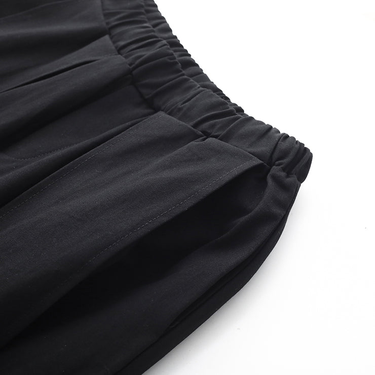 Handmade Spring Wide Leg Pants Loose Black Photography Elastic Waist Pants