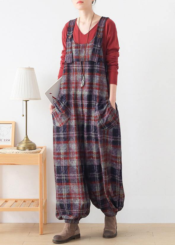 High end original Jumpsuit fashion red check strap Jumpsuit