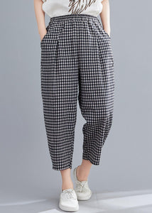 High-waist cotton linen checked harem pants