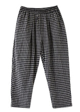 Load image into Gallery viewer, High-waist cotton linen checked harem pants