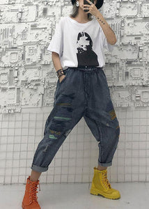 High waist summer nine points embroidery vintage broken hole carrot pants