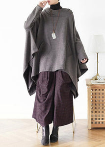 Irregular gray pullover loose large size cotton sweater coat personalized knitted top