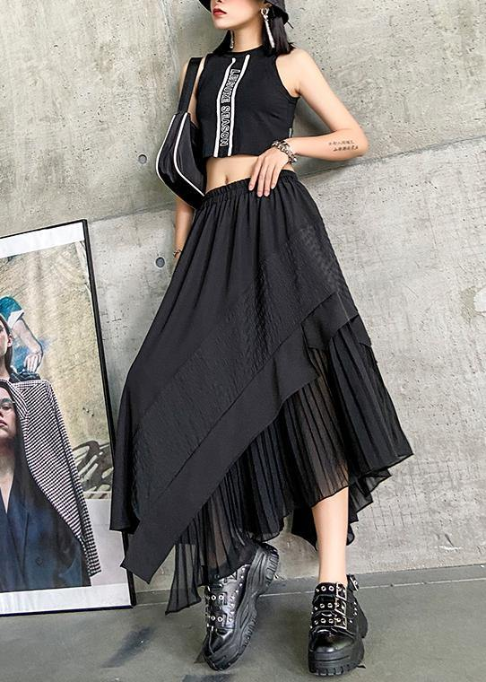 Irregular skirt a-line skirt mid-length black stitching pleated skirt