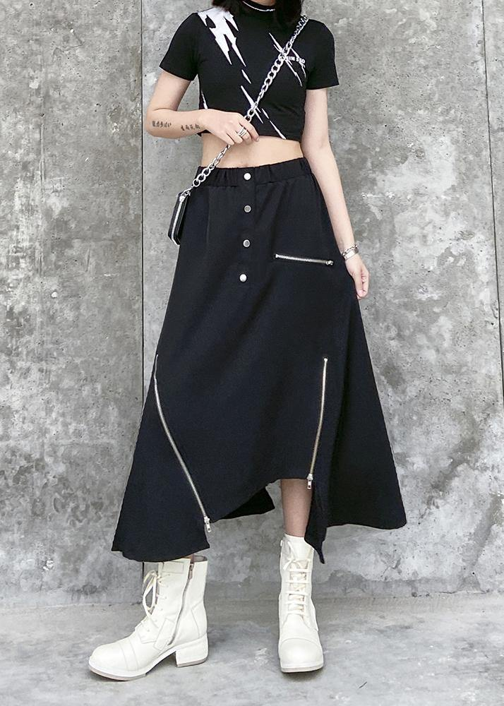 Irregular skirt female summer a-line skirt in the long section of large size elastic waist wild casual skirt