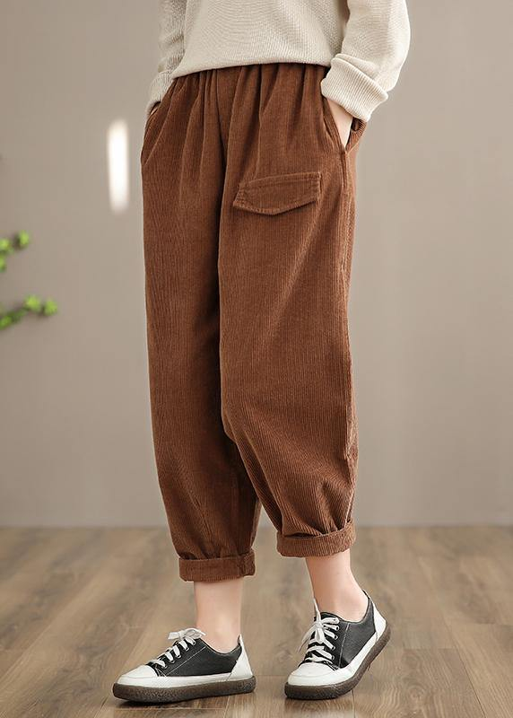 Italian Chocolate Casual Spring Elastic Waist Pockets Wide Leg Pants