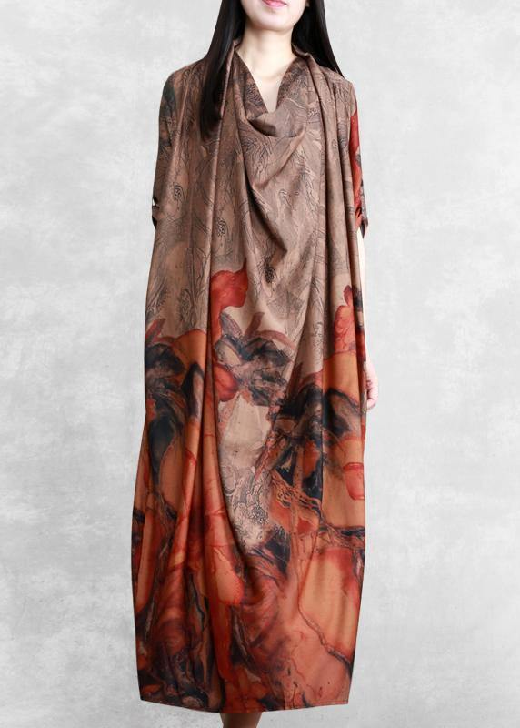 Italian Chocolate Print Clothes Women Asymmetric A Line Dress