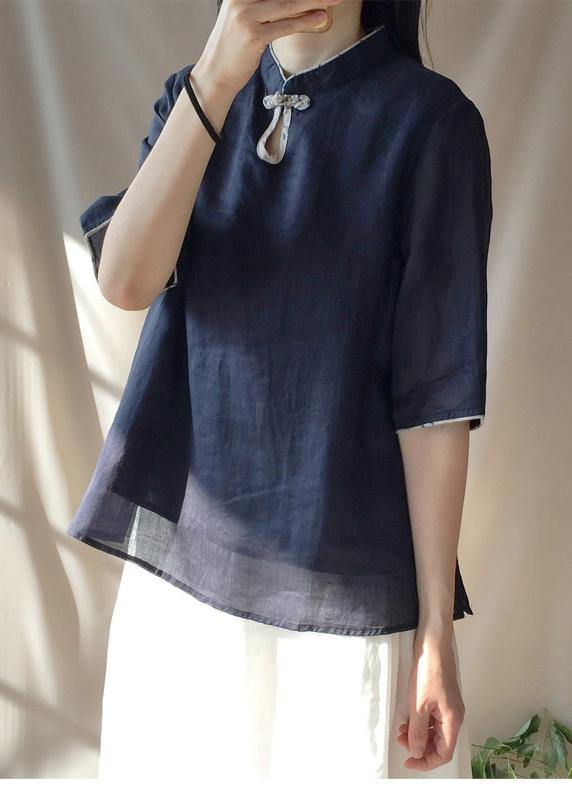 Italian Dark Blue Clothes For Women Stand Collar Half Sleeve Cotton Top