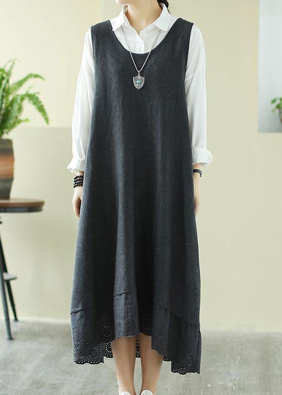 Italian Gray Outfit O Neck Sleeveless Robes Spring Dress
