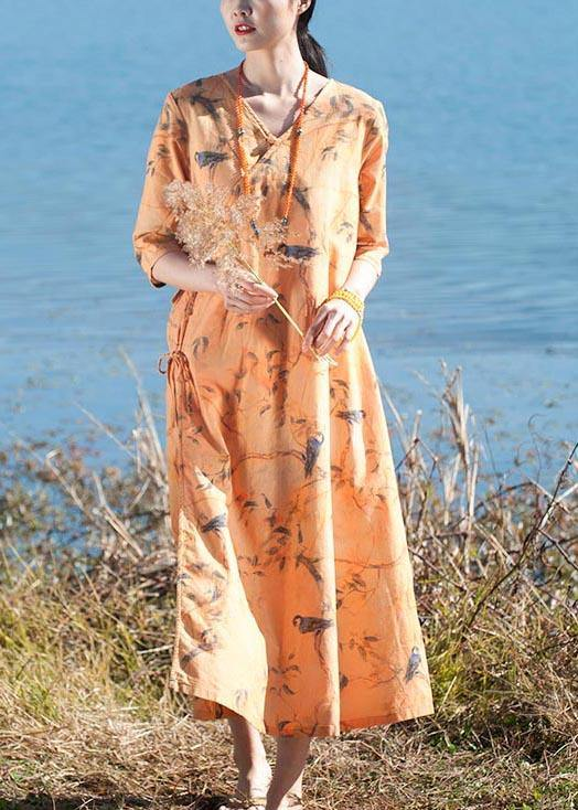 Italian O Neck Half Sleeve Dress Yellow Flower And Bird Print Maxi Dress