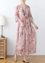 Italian Pink Print Cotton Orientaltie waist Spring Dress