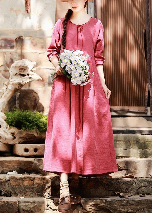 Italian Red Clothes For Women O Neck Pockets Maxi Spring Dress