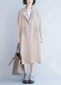 Italian Square Collar drawstring Plus Size outwear nude oversized coat fall